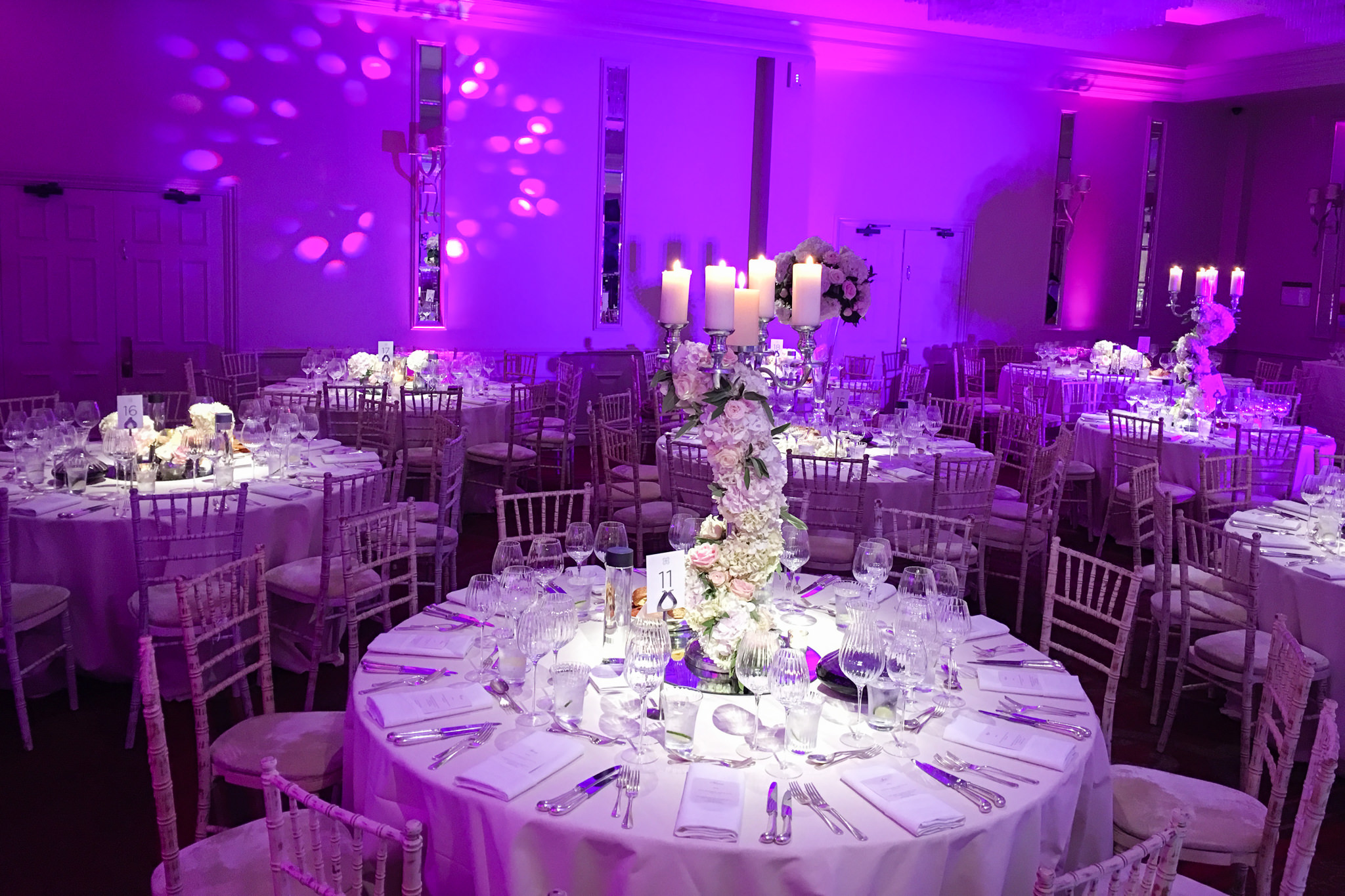 Wedding mood lighting at Sopwell House
